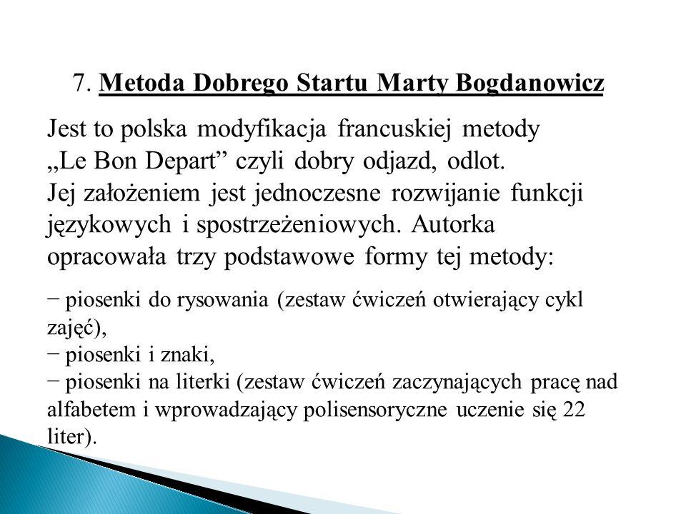 """7. Metoda Dobrego Startu Marty Bogdanowicz Jest to polska modyfikacja francuskiej metody """"Le Bon Depart"""" czyli dobry odjazd, odlot. Jej założeniem jes"""