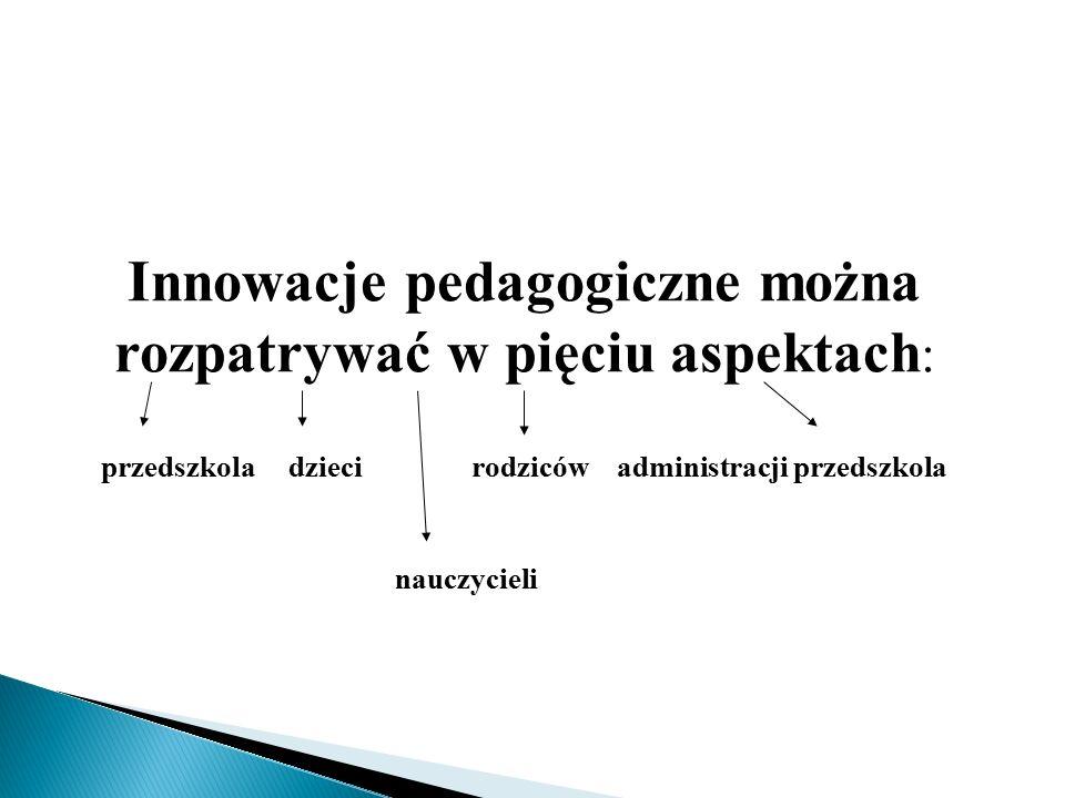 Innowacje pedagogiczne można rozpatrywać w pięciu aspektach : przedszkola dzieci rodziców administracji przedszkola nauczycieli