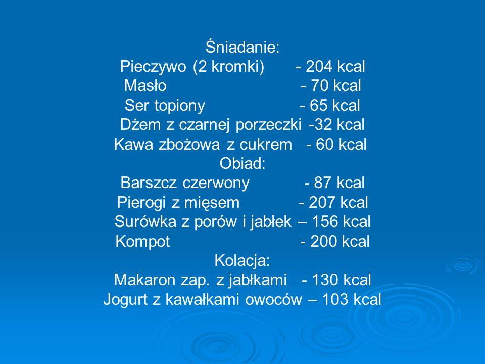Śniadanie: Pieczywo (2 kromki) - 204 kcal Masło - 70 kcal Ser topiony - 65 kcal Dżem z czarnej porzeczki -32 kcal Kawa zbożowa z cukrem - 60 kcal Obia