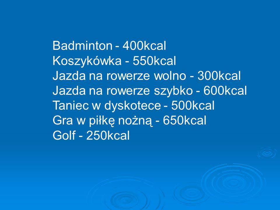 Badminton - 400kcal Koszykówka - 550kcal Jazda na rowerze wolno - 300kcal Jazda na rowerze szybko - 600kcal Taniec w dyskotece - 500kcal Gra w piłkę nożną - 650kcal Golf - 250kcal