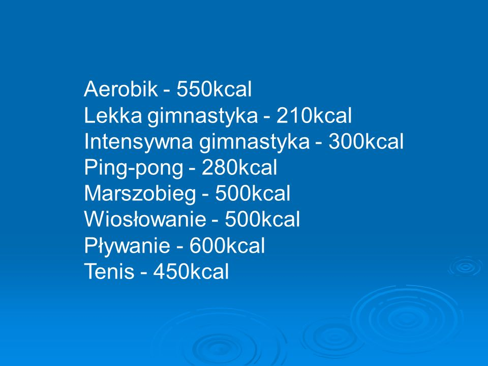 Aerobik - 550kcal Lekka gimnastyka - 210kcal Intensywna gimnastyka - 300kcal Ping-pong - 280kcal Marszobieg - 500kcal Wiosłowanie - 500kcal Pływanie - 600kcal Tenis - 450kcal