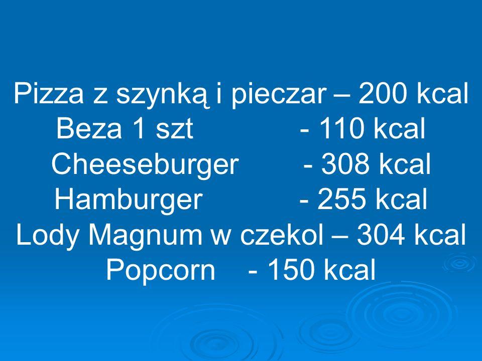 Pizza z szynką i pieczar – 200 kcal Beza 1 szt - 110 kcal Cheeseburger - 308 kcal Hamburger - 255 kcal Lody Magnum w czekol – 304 kcal Popcorn - 150 kcal