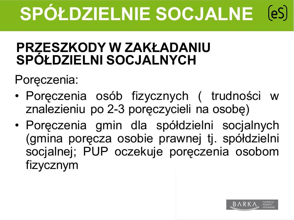 PRZESZKODY W ZAKŁADANIU SPÓŁDZIELNI SOCJALNYCH Poręczenia: Poręczenia osób fizycznych ( trudności w znalezieniu po 2-3 poręczycieli na osobę) Poręczenia gmin dla spółdzielni socjalnych (gmina poręcza osobie prawnej tj.