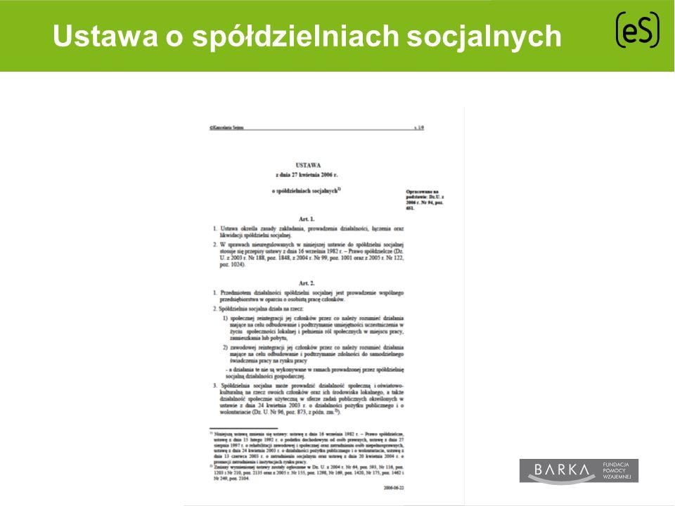 Ustawa o spółdzielniach socjalnych