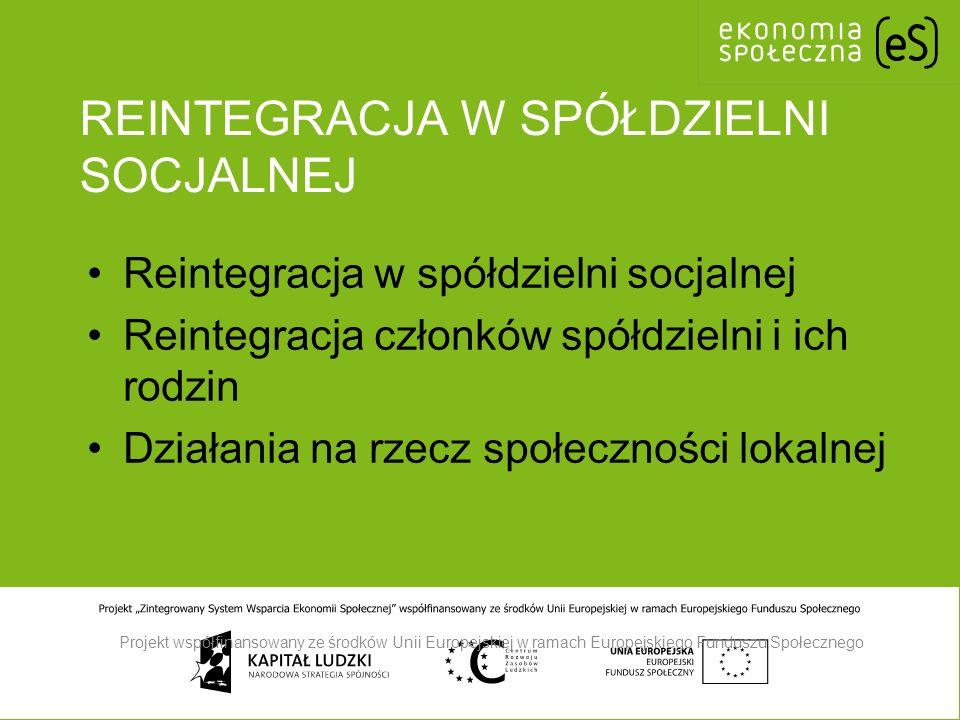 REINTEGRACJA W SPÓŁDZIELNI SOCJALNEJ Reintegracja w spółdzielni socjalnej Reintegracja członków spółdzielni i ich rodzin Działania na rzecz społeczności lokalnej Projekt współfinansowany ze środków Unii Europejskiej w ramach Europejskiego Funduszu Społecznego