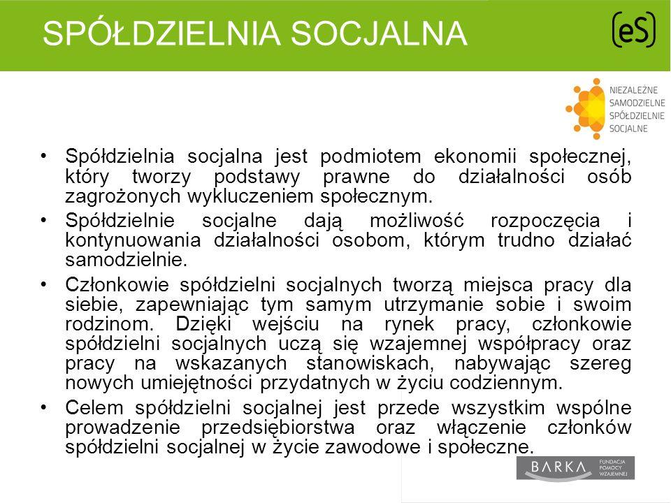 SPÓŁDZIELNIA SOCJALNA Spółdzielnia socjalna jest podmiotem ekonomii społecznej, który tworzy podstawy prawne do działalności osób zagrożonych wykluczeniem społecznym.