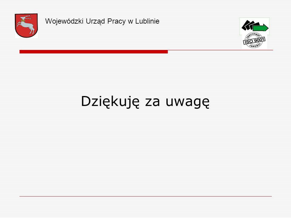 Dziękuję za uwagę Wojewódzki Urząd Pracy w Lublinie