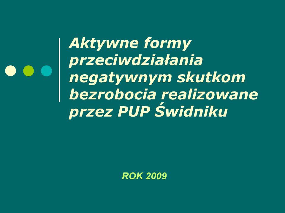 Aktywne formy przeciwdziałania negatywnym skutkom bezrobocia realizowane przez PUP Świdniku ROK 2009
