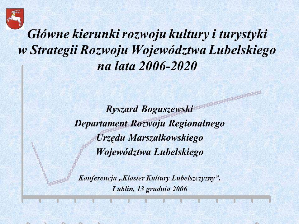 Główne kierunki rozwoju kultury i turystyki w Strategii Rozwoju Województwa Lubelskiego na lata 2006-2020 Ryszard Boguszewski Departament Rozwoju Regi