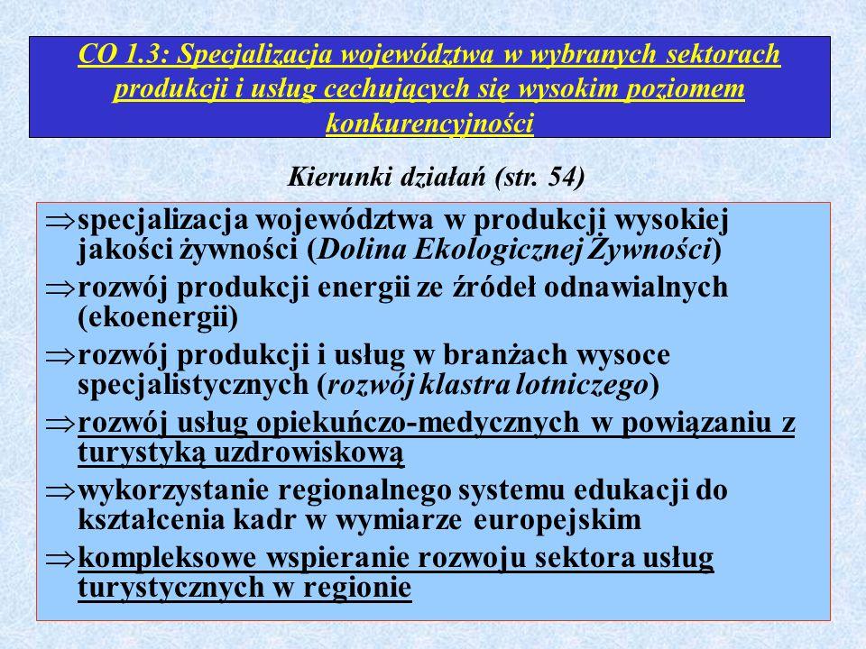CO 1.3: Specjalizacja województwa w wybranych sektorach produkcji i usług cechujących się wysokim poziomem konkurencyjności  specjalizacja województw