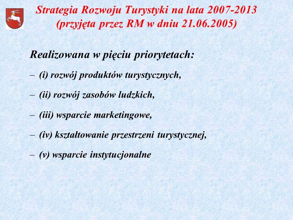 Strategia Rozwoju Turystyki na lata 2007-2013 (przyjęta przez RM w dniu 21.06.2005) Realizowana w pięciu priorytetach: –(i) rozwój produktów turystycz