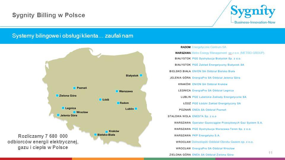 Wstaw tekst wyróżniony Sygnity Billing w Polsce 11 Systemy bilingowe i obsługi klienta… zaufali nam Rozliczamy 7 680 000 odbiorców energii elektrycznej, gazu i ciepła w Polsce