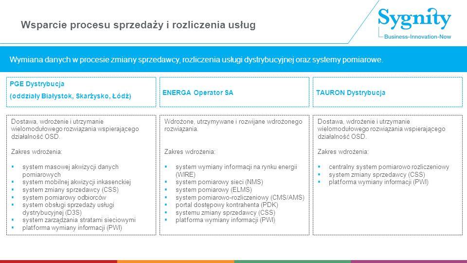 PGE Dystrybucja (oddziały Białystok, Skarżysko, Łódź) Wymiana danych w procesie zmiany sprzedawcy, rozliczenia usługi dystrybucyjnej oraz systemy pomiarowe.