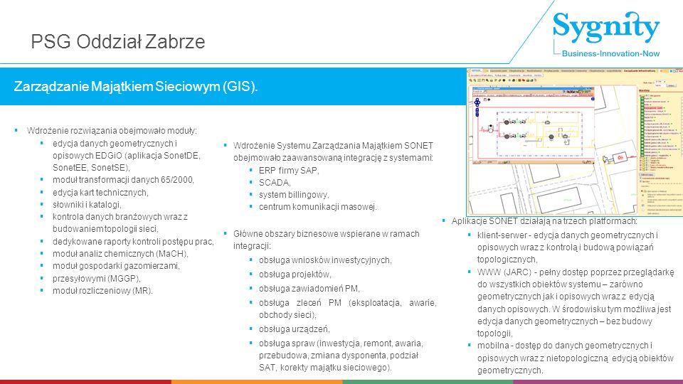  Wdrożenie rozwiązania obejmowało moduły:  edycja danych geometrycznych i opisowych EDGiO (aplikacja SonetDE, SonetEE, SonetSE),  moduł transformacji danych 65/2000,  edycja kart technicznych,  słowniki i katalogi,  kontrola danych branżowych wraz z budowaniem topologii sieci,  dedykowane raporty kontroli postępu prac,  moduł analiz chemicznych (MaCH),  moduł gospodarki gazomierzami,  przesyłowymi (MGGP),  moduł rozliczeniowy (MR).