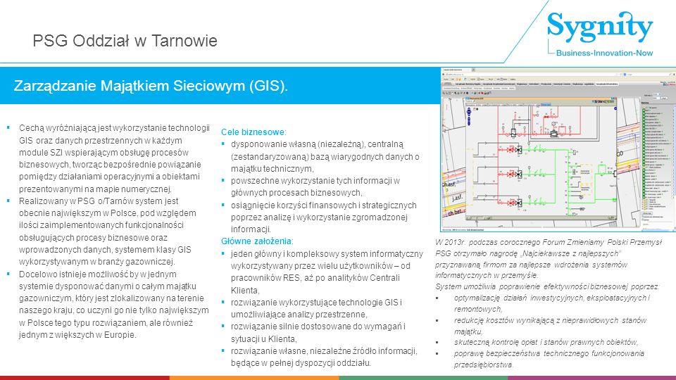 Cechą wyróżniającą jest wykorzystanie technologii GIS oraz danych przestrzennych w każdym module SZI wspierającym obsługę procesów biznesowych, tworząc bezpośrednie powiązanie pomiędzy działaniami operacyjnymi a obiektami prezentowanymi na mapie numerycznej.