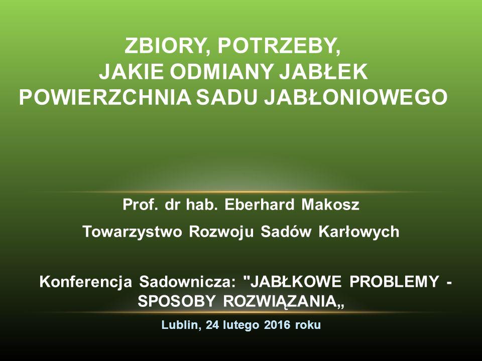 ZBIORY JABŁEK W Polsce towarowa produkcja, na szerszą skalę, zaczęła się rozwijać dopiero po pierwszej wojnie światowej i szybko wzrastała przy zmianie form jabłoni.