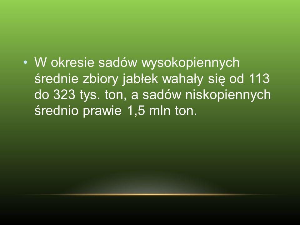Cechy jabłek wysokiej jakości: średnica od 6,5cm (Anglia), 9,0+ (Egipt).