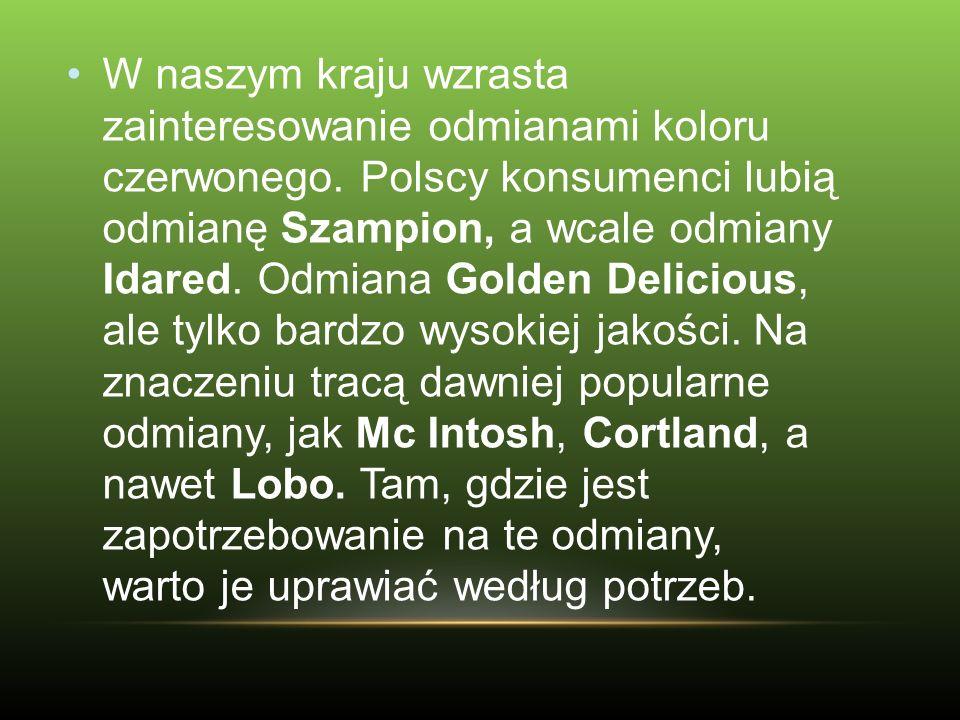 W naszym kraju wzrasta zainteresowanie odmianami koloru czerwonego. Polscy konsumenci lubią odmianę Szampion, a wcale odmiany Idared. Odmiana Golden D