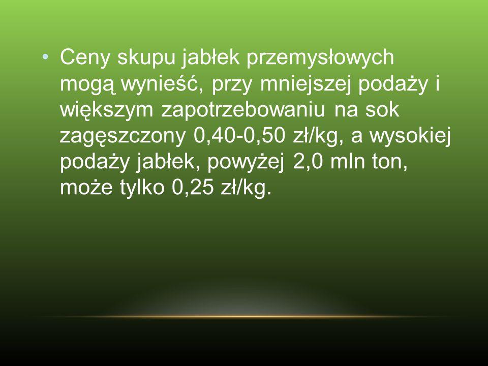 Ceny skupu jabłek przemysłowych mogą wynieść, przy mniejszej podaży i większym zapotrzebowaniu na sok zagęszczony 0,40-0,50 zł/kg, a wysokiej podaży j