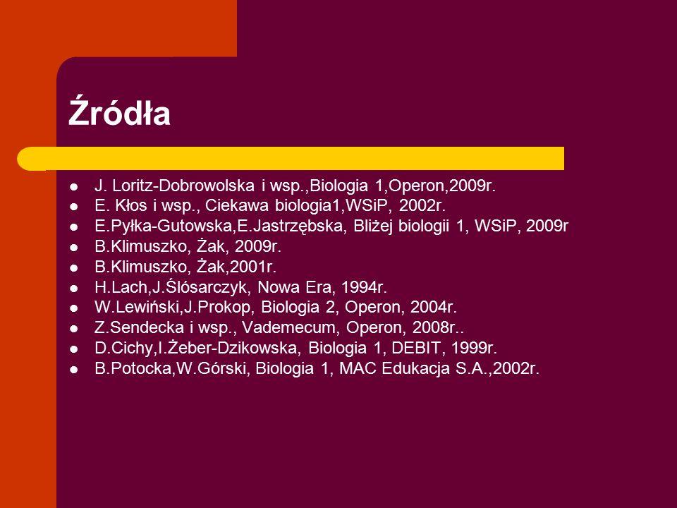 Źródła J. Loritz-Dobrowolska i wsp.,Biologia 1,Operon,2009r. E. Kłos i wsp., Ciekawa biologia1,WSiP, 2002r. E.Pyłka-Gutowska,E.Jastrzębska, Bliżej bio