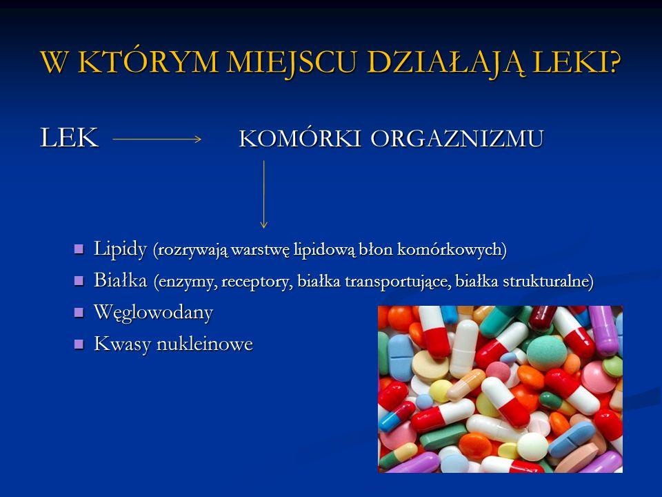 W KTÓRYM MIEJSCU DZIAŁAJĄ LEKI? LEK KOMÓRKI ORGAZNIZMU Lipidy (rozrywają warstwę lipidową błon komórkowych) Lipidy (rozrywają warstwę lipidową błon ko