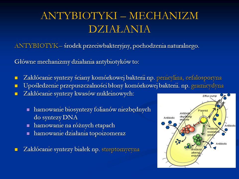 ANTYBIOTYKI – MECHANIZM DZIAŁANIA ANTYBIOTYK – środek przeciwbakteryjny, pochodzenia naturalnego. Główne mechanizmy działania antybiotyków to: Zakłóca