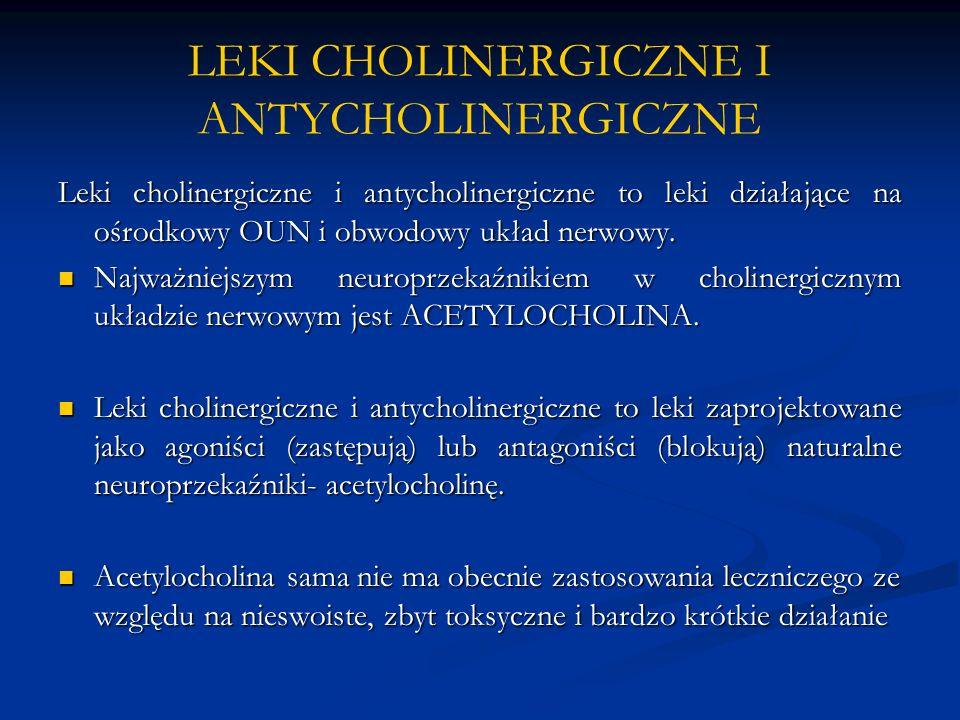 LEKI CHOLINERGICZNE I ANTYCHOLINERGICZNE Leki cholinergiczne i antycholinergiczne to leki działające na ośrodkowy OUN i obwodowy układ nerwowy. Najważ