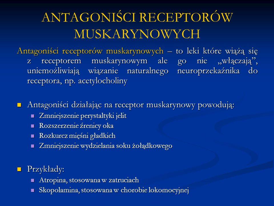 """ANTAGONIŚCI RECEPTORÓW MUSKARYNOWYCH Antagoniści receptorów muskarynowych – to leki które wiążą się z receptorem muskarynowym ale go nie """"włączają , uniemożliwiają wiązanie naturalnego neuroprzekaźnika do receptora, np."""