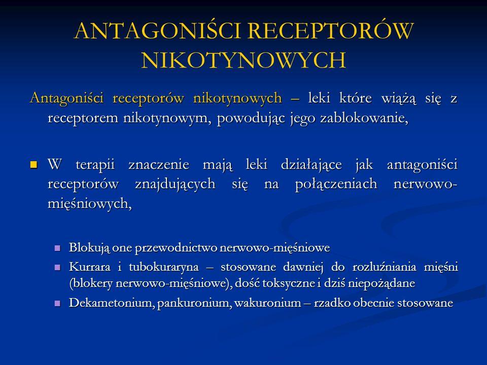 ANTAGONIŚCI RECEPTORÓW NIKOTYNOWYCH Antagoniści receptorów nikotynowych – leki które wiążą się z receptorem nikotynowym, powodując jego zablokowanie,