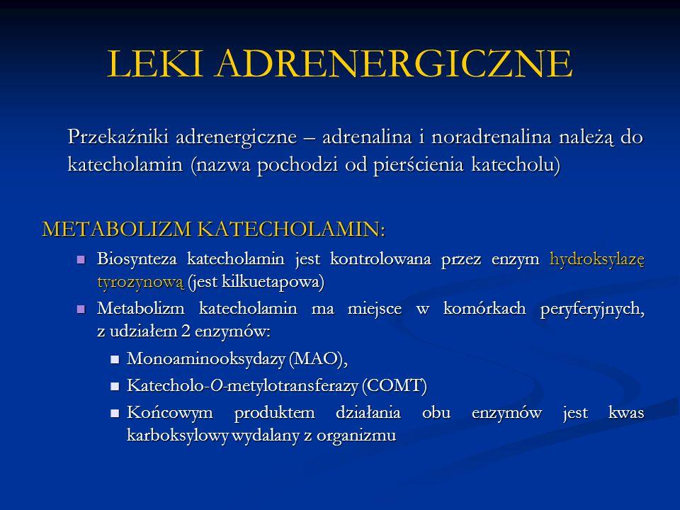 LEKI ADRENERGICZNE Przekaźniki adrenergiczne – adrenalina i noradrenalina należą do katecholamin (nazwa pochodzi od pierścienia katecholu) METABOLIZM