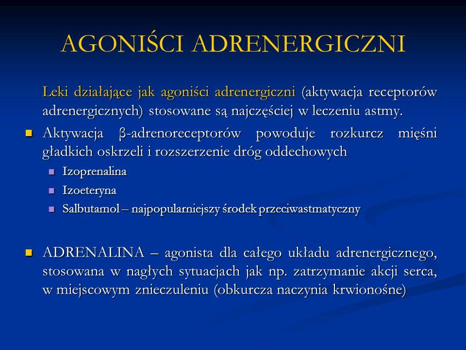AGONIŚCI ADRENERGICZNI Leki działające jak agoniści adrenergiczni (aktywacja receptorów adrenergicznych) stosowane są najczęściej w leczeniu astmy. Ak