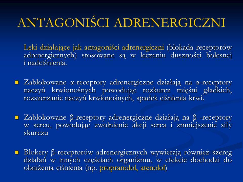 ANTAGONIŚCI ADRENERGICZNI Leki działające jak antagoniści adrenergiczni (blokada receptorów adrenergicznych) stosowane są w leczeniu duszności bolesnej i nadciśnienia.