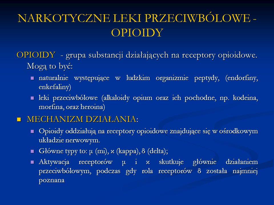 NARKOTYCZNE LEKI PRZECIWBÓLOWE - OPIOIDY OPIOIDY - grupa substancji działających na receptory opioidowe. Mogą to być: naturalnie występujące w ludzkim