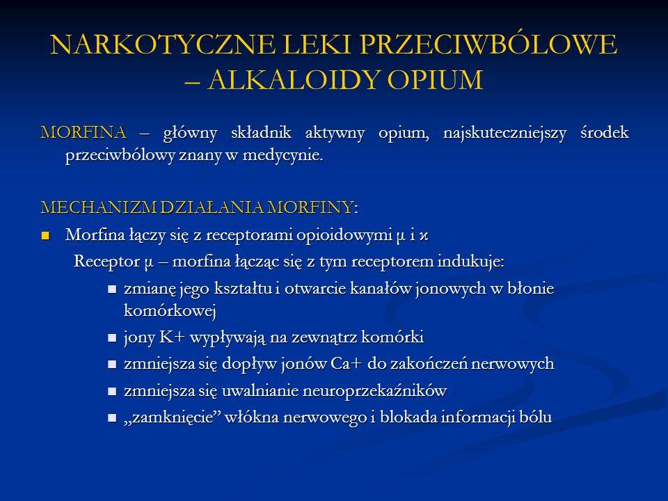 NARKOTYCZNE LEKI PRZECIWBÓLOWE – ALKALOIDY OPIUM MORFINA – główny składnik aktywny opium, najskuteczniejszy środek przeciwbólowy znany w medycynie. ME