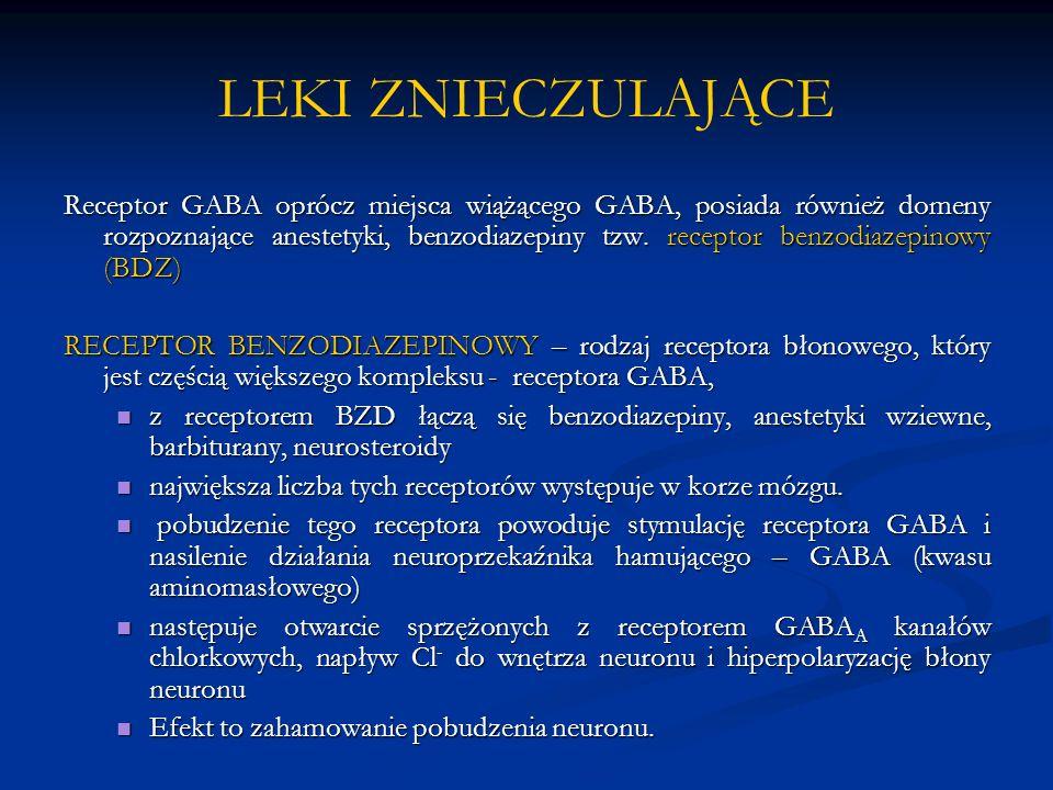 LEKI ZNIECZULAJĄCE Receptor GABA oprócz miejsca wiążącego GABA, posiada również domeny rozpoznające anestetyki, benzodiazepiny tzw. receptor benzodiaz