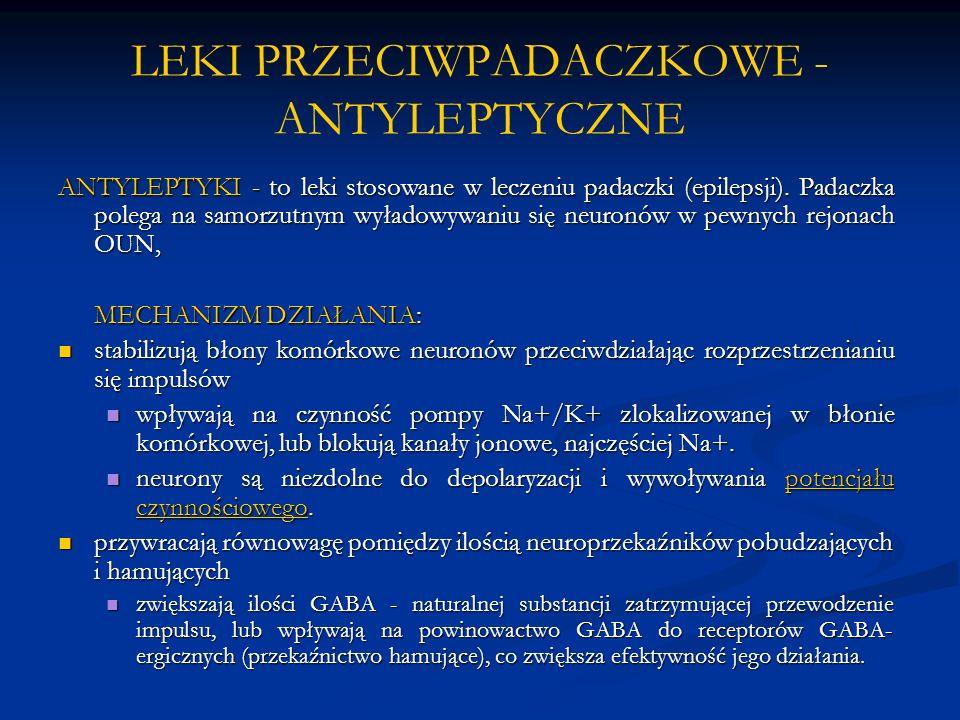 LEKI PRZECIWPADACZKOWE - ANTYLEPTYCZNE ANTYLEPTYKI - to leki stosowane w leczeniu padaczki (epilepsji). Padaczka polega na samorzutnym wyładowywaniu s