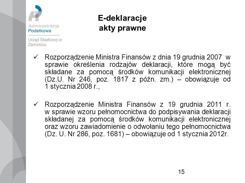 15 E-deklaracje akty prawne Rozporządzenie Ministra Finansów z dnia 19 grudnia 2007 w sprawie określenia rodzajów deklaracji, które mogą być składane za pomocą środków komunikacji elektronicznej (Dz.U.