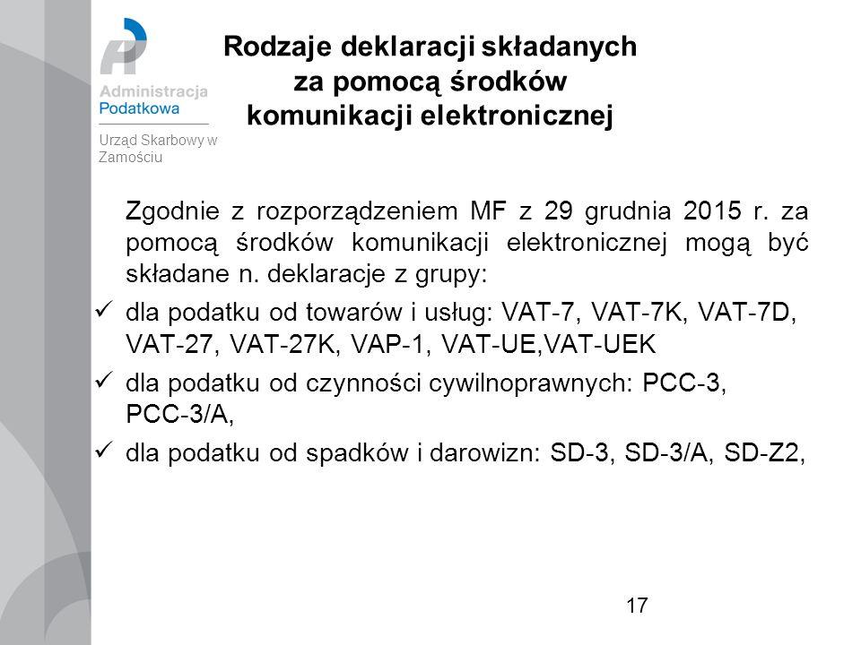 17 Rodzaje deklaracji składanych za pomocą środków komunikacji elektronicznej Zgodnie z rozporządzeniem MF z 29 grudnia 2015 r.