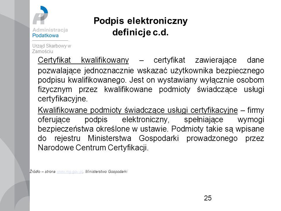 25 Podpis elektroniczny definicje c.d.