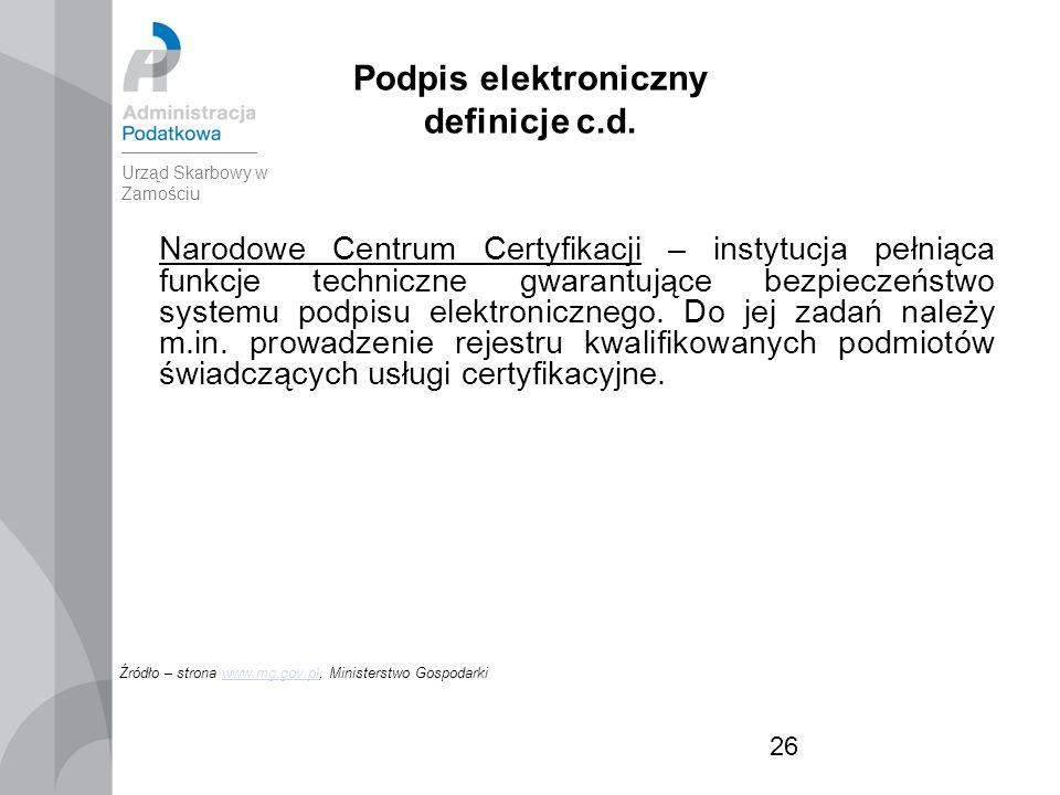 26 Podpis elektroniczny definicje c.d.