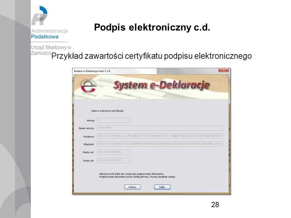 28 Podpis elektroniczny c.d.
