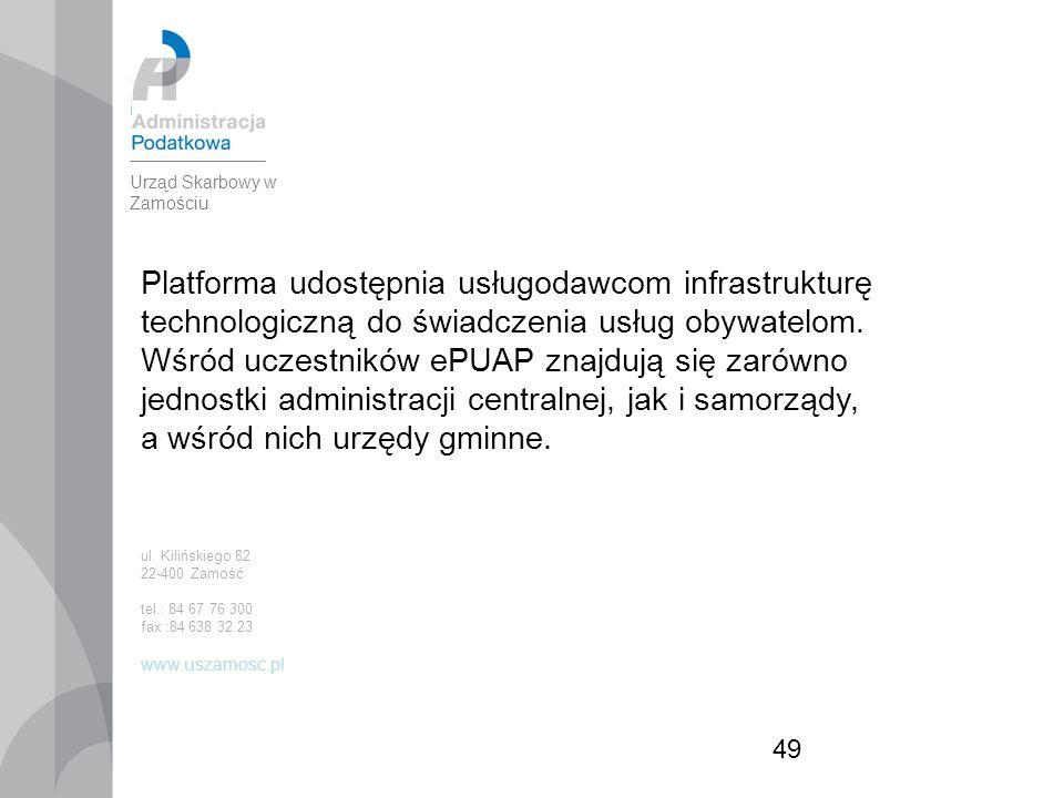 49 Platforma udostępnia usługodawcom infrastrukturę technologiczną do świadczenia usług obywatelom.