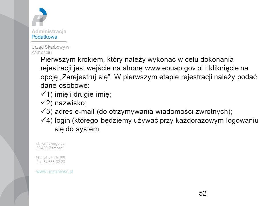 """52 Pierwszym krokiem, który należy wykonać w celu dokonania rejestracji jest wejście na stronę www.epuap.gov.pl i kliknięcie na opcję """"Zarejestruj się ."""