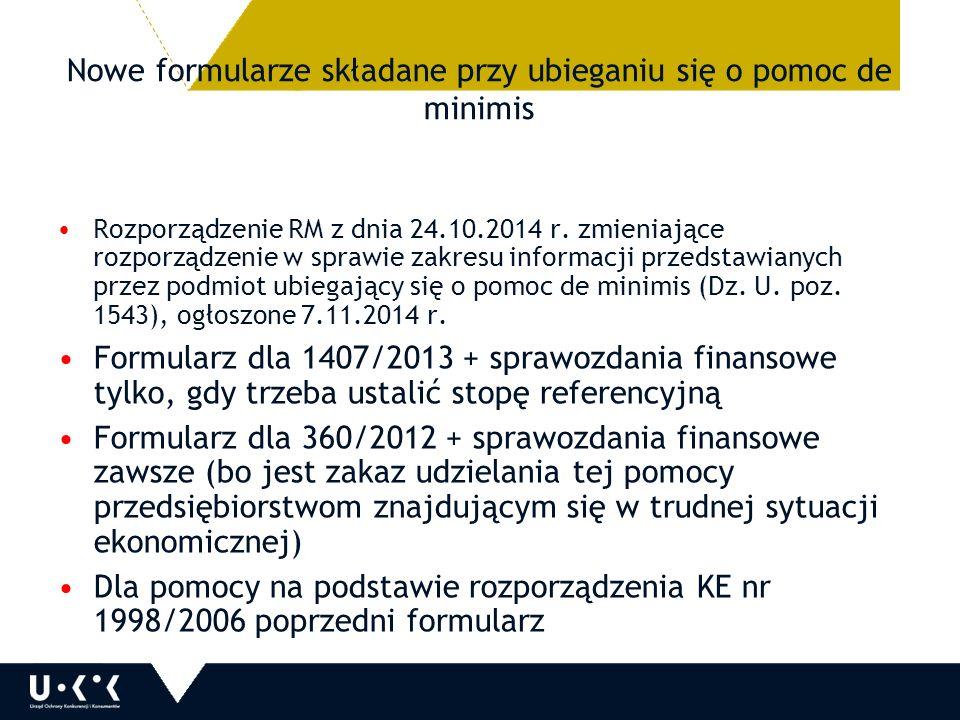 Nowe formularze składane przy ubieganiu się o pomoc de minimis Rozporządzenie RM z dnia 24.10.2014 r.