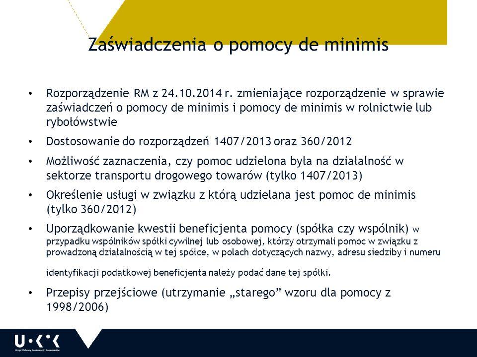 Zaświadczenia o pomocy de minimis Rozporządzenie RM z 24.10.2014 r.