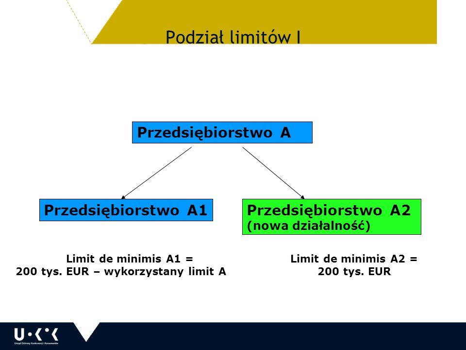 Przedsiębiorstwo A Przedsiębiorstwo A1Przedsiębiorstwo A2 (nowa działalność) Limit de minimis A1 = 200 tys.