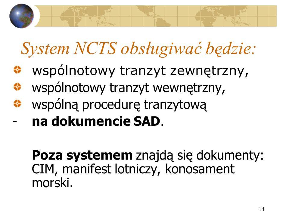 14 System NCTS obsługiwać będzie: wspólnotowy tranzyt zewnętrzny, wspólnotowy tranzyt wewnętrzny, wspólną procedurę tranzytową -na dokumencie SAD. Poz
