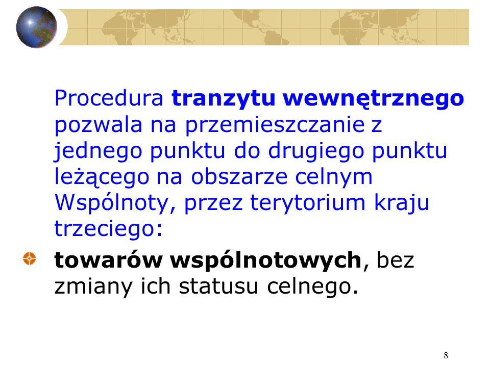 8 Procedura tranzytu wewnętrznego pozwala na przemieszczanie z jednego punktu do drugiego punktu leżącego na obszarze celnym Wspólnoty, przez terytori