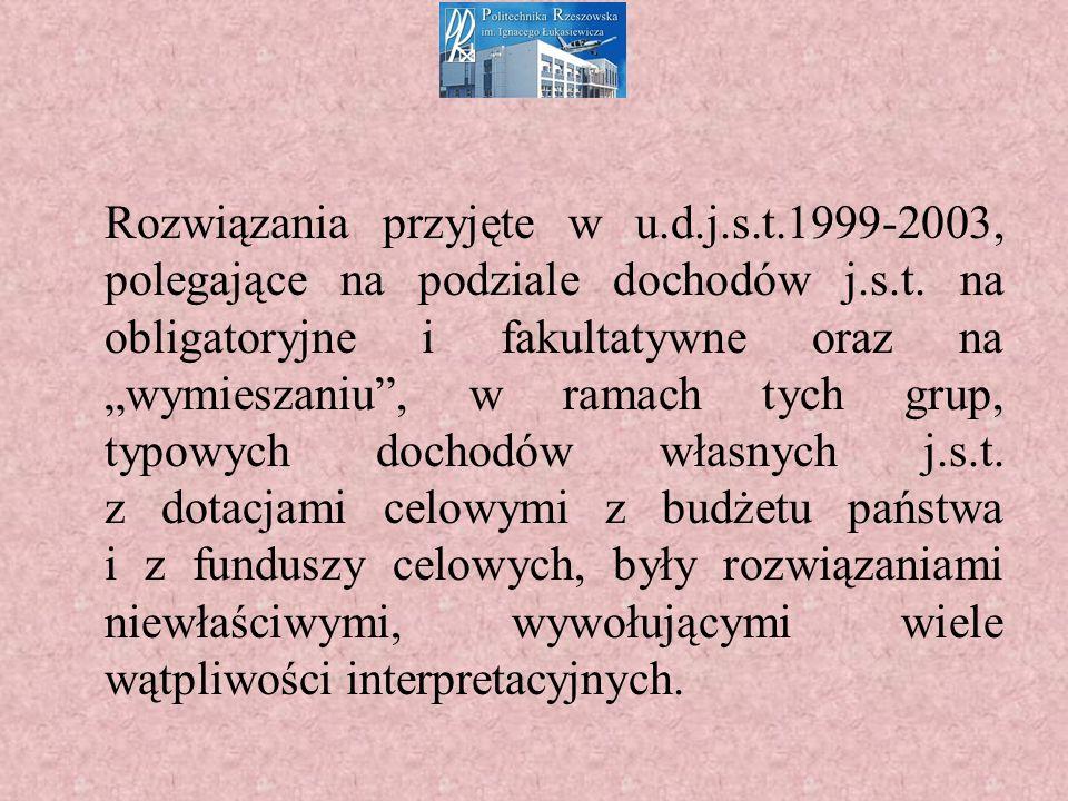 Rozwiązania przyjęte w u.d.j.s.t.1999-2003, polegające na podziale dochodów j.s.t.