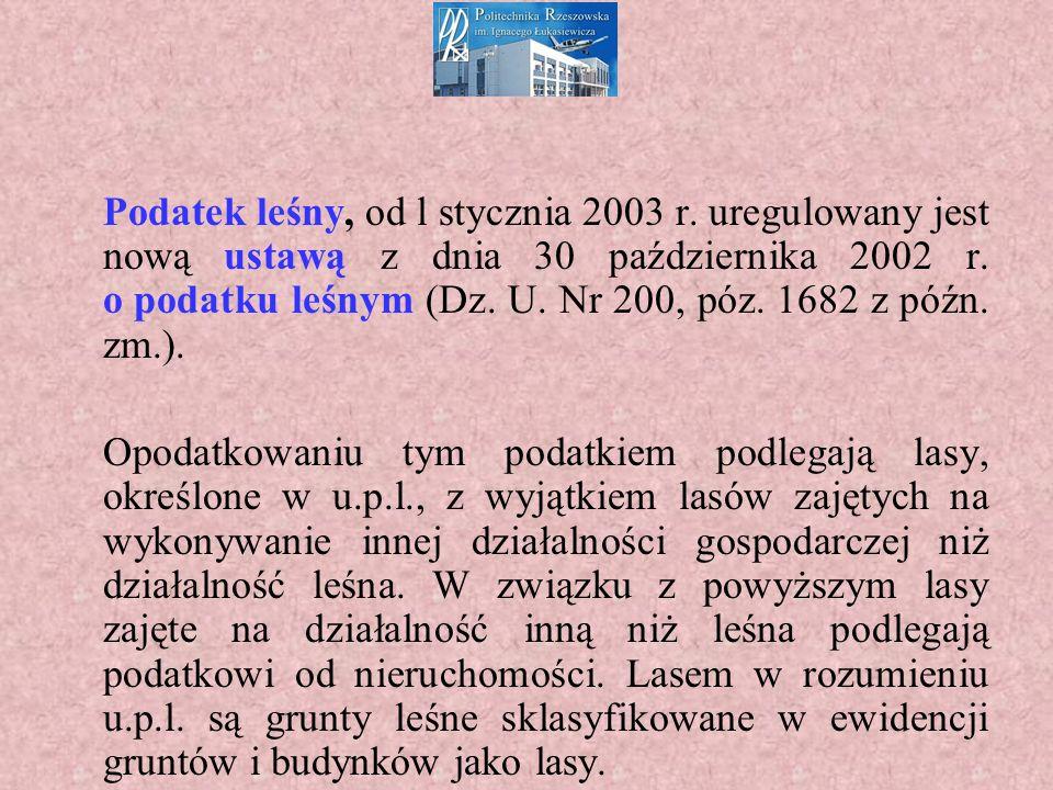 Podatek leśny, od l stycznia 2003 r.uregulowany jest nową ustawą z dnia 30 października 2002 r.